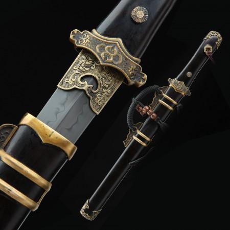 Handmade 1095 Carbon Steel Real Hamon Chinese Short Sword With Ebony Scabbard