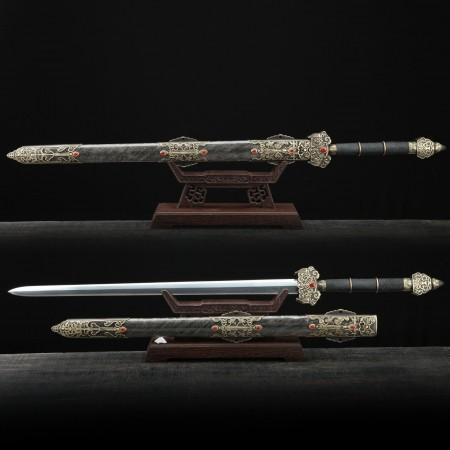 Handmade Real Rayskin Scabbard Damascus Steel Chinese Swords Of Feng Shen Jian