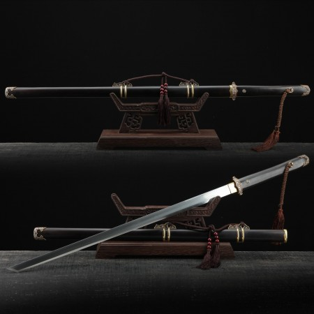 Handmade Black Sandalwood Tang Dynasty Damascus Steel Huanshou Chinese Swords