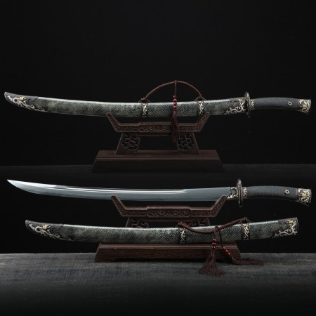 Cyan-blue Real Rayskin Dragon Qing Dynasty Clay Tempered Chinese Broadsword