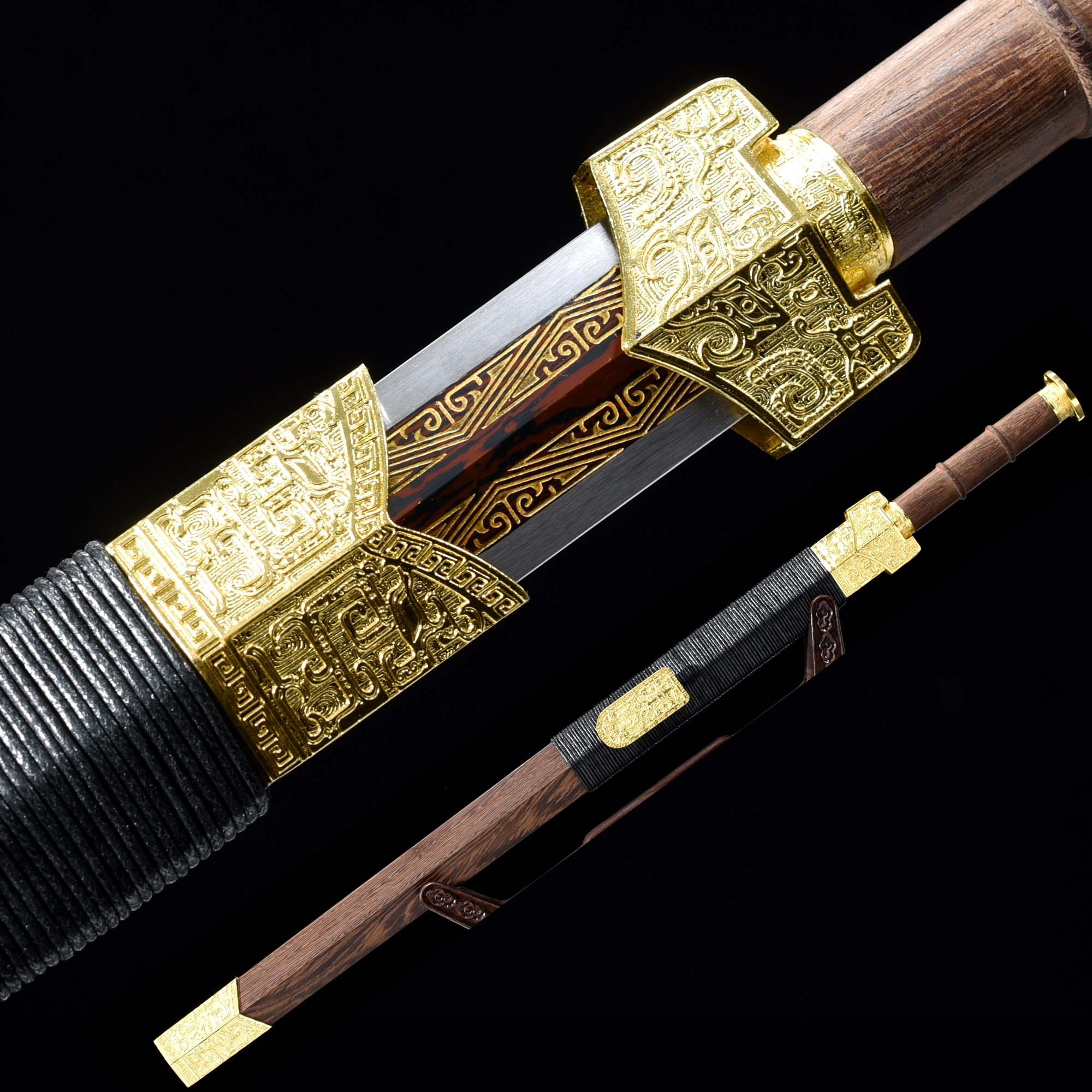 Handmade Pattern Steel Red Branding Blade Chinese Han Dynasty Sword With Rosewood Scabbard