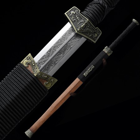 Handmade High Manganese Steel Straight Blade Chinese Han Dynasty Sword With Rosewood Scabbard
