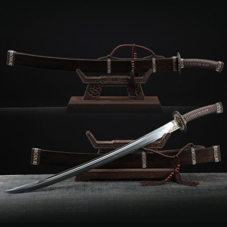 Handmade Damascus Steel Chinese Ming Dynasty King Swords With Wood Scabbard