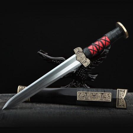 Handmade Damascus Steel Black Sandalwood Han Dynasty Hand Forged Chinese Swords