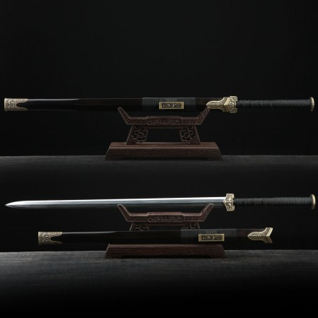 Classic Damascus Steel Black Chinese Han Dynasty Real Straight Chinese Swords