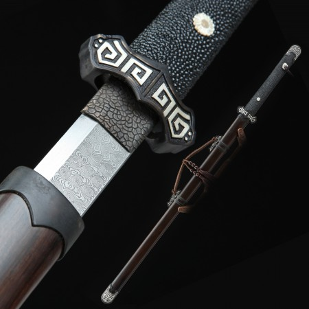 High-performance 1000 Layer Folded Steel Handforged Chinese Tang Dynasty Sword With Ebony Scabbard