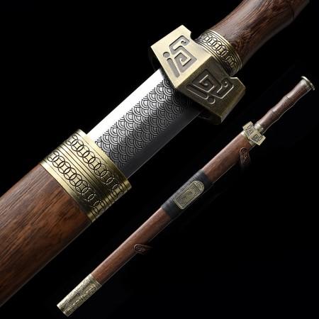 Handmade High Manganese Steel Branding Blade Chinese Han Dynasty Sword With Rosewood Scabbard