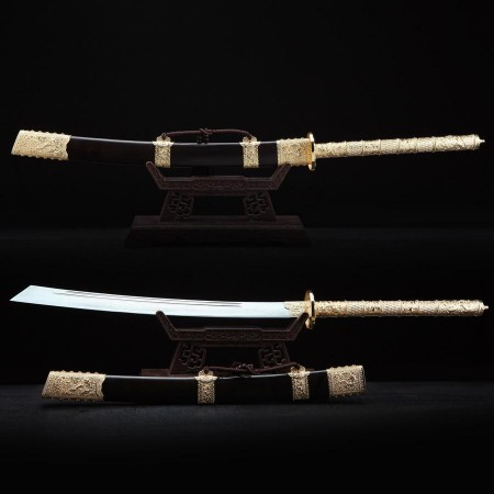 Handmade Chinese Qing Dynasty King of Kang Xi Swords with Wooden Scabbard