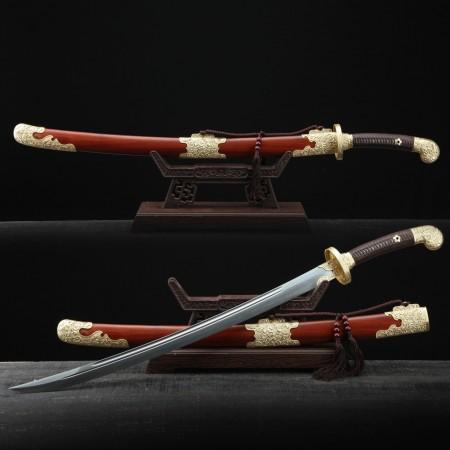 Rosewood Chrysanthemum Theme Handmade Damascus Steel Qing Dynasty Chinese Swords