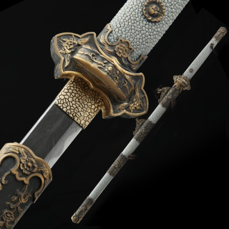 Handmade 1000 Layer Folded Steel Real Hamon Chinese Tang Dynasty Sword With Gray Rayskin Scabbard