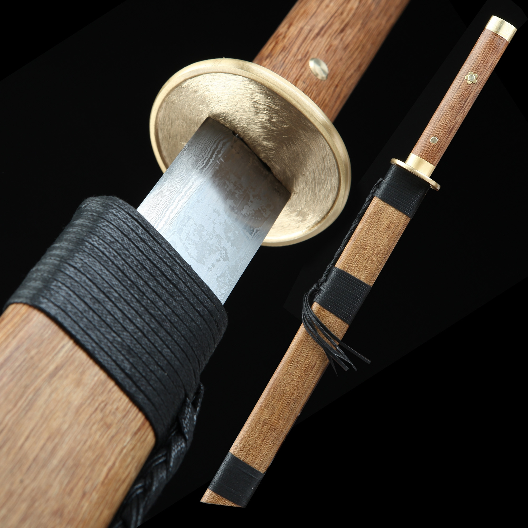 Handmade Pattern Steel Straight Blade Chinese Broadsword With Rosewood Scabbard