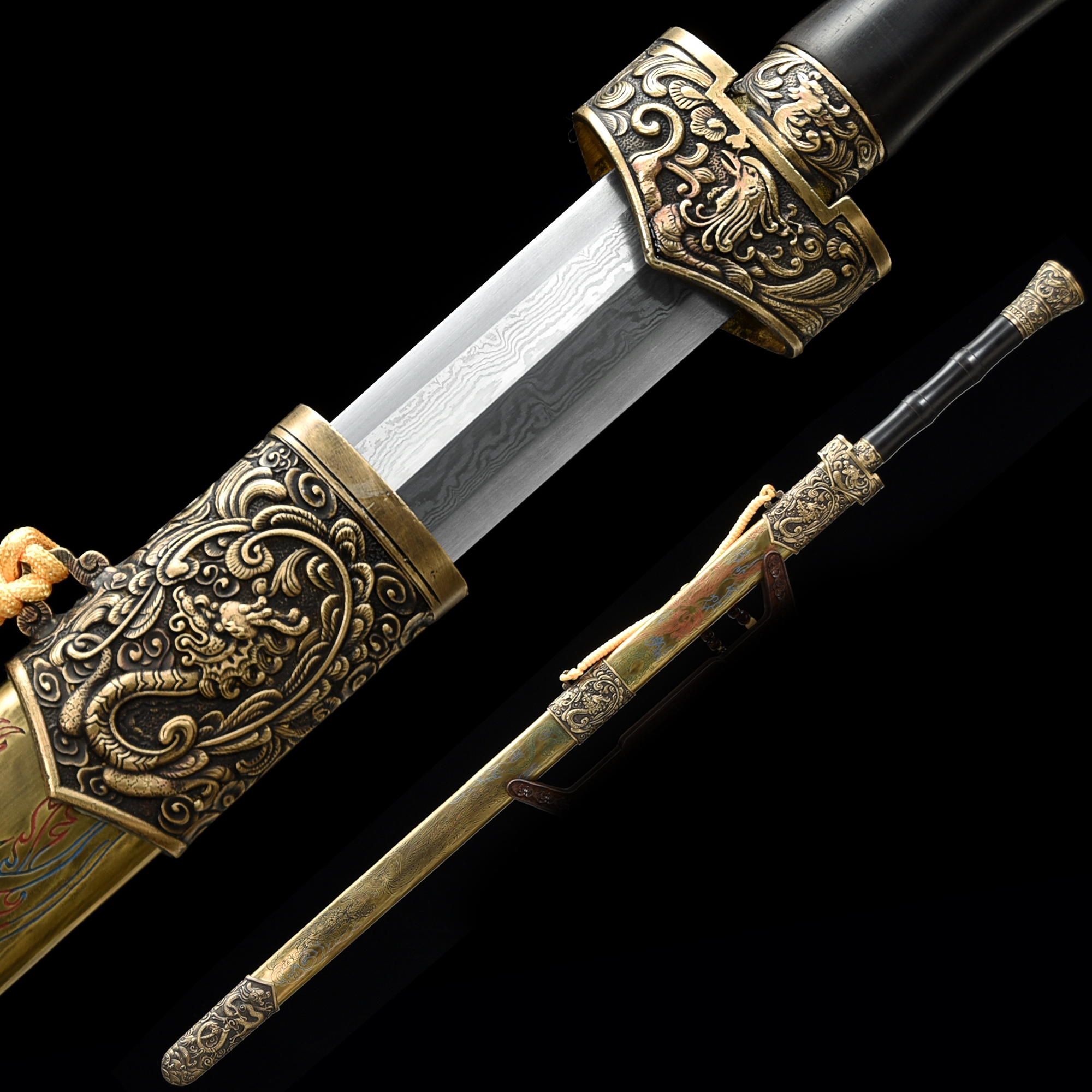 High-performance 1000 Layer Folded Steel Chinese Han Dynasty Sword With Bronze Scabbard