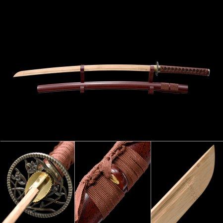 Handmade Natural Bamboo Wooden Blade Unsharpened Katana Sword With Red Scabbard And Flower Tsuba