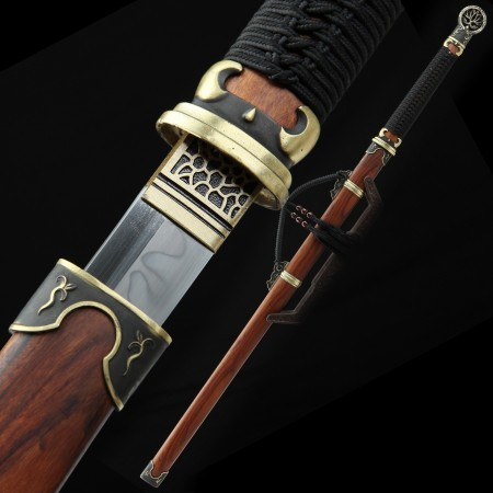 High-performance 1095 Carbon Steel Real Hamon Chinese Tang Dynasty Sword With Rosewood Scabbard