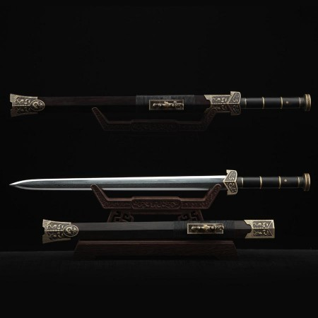 Black Dragon Real Han Sword Chinese Swords With Wood Scabbard