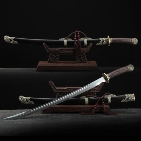 Handmade Black Sandalwood Qing Dynasty Kirin Theme Chinese King Broadsword