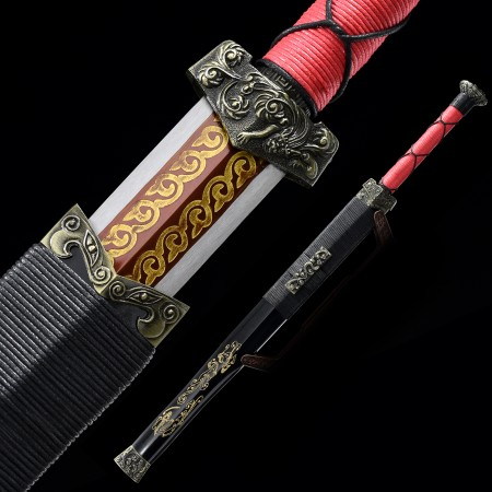 Handmade High Manganese Steel Red Blade Chinese Han Dynasty Sword With Blackwood Scabbard