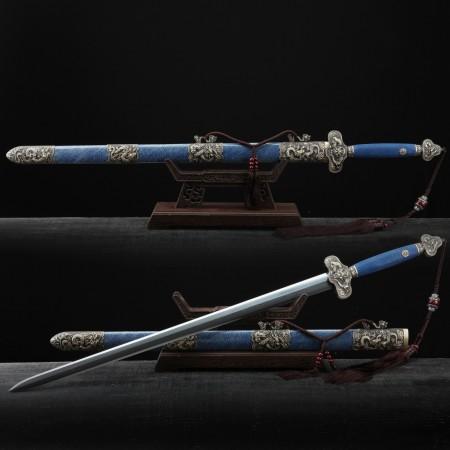 Handmade Blue Rayskin Chinese Dragon Theme Damascus Steel Real Chinese Swords