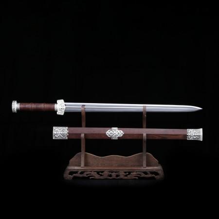 Handmade Silver Damascus Steel Rosewood Han Dynasty King Sword Chinese Swords