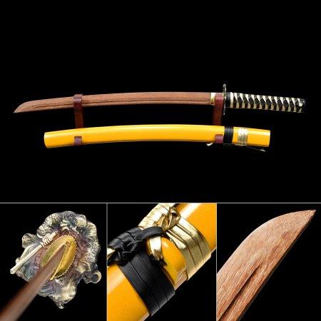 Handmade Brown Wooden Blade Wakizashi Swords With Yellow Scabbard And Zhong Kui Tsuba