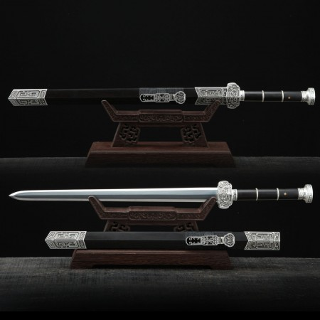 Chinese Retro Silver Theme Han Dynasty Damascus Steel Full Tang Chinese Swords