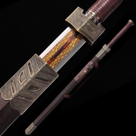 Handmade Pattern Steel Branding Blade Chinese Han Dynasty Sword With Ebony Scabbard