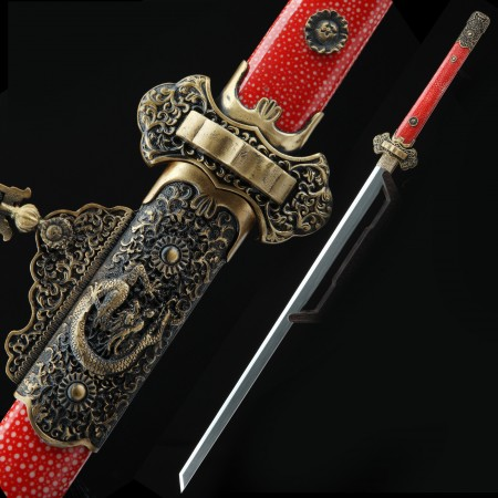 High-performance Pattern Steel Real Hamon Chinese Tang Dynasty Sword With Red Rayskin Scabbard