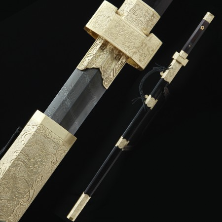 High-performance Pattern Steel Sharpening Chinese Han Dynasty Sword With Ebony Scabbard