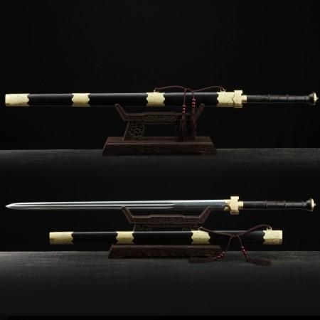 Handmade Black Sandalwood Top Han Dynasty Damascus Steel Real Chinese Swords