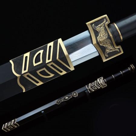 Handmade Ruyi Real Chinese Han Sword With Black Scabbard