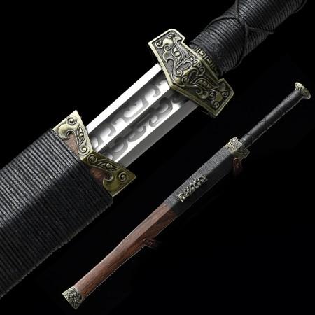 Handmade High Manganese Steel Branding Blade Chinese Han Dynasty Sword With Wenge Scabbard
