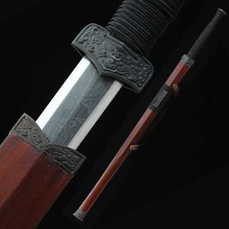 High-performance Pattern Steel Sharpening Chinese Han Dynasty Sword With Rosewood Scabbard