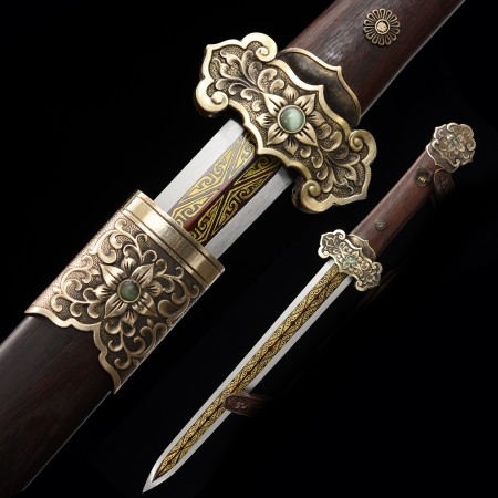 Handmade Pattern Steel Red Blade Chinese Han Dynasty Sword With Wenge Scabbard
