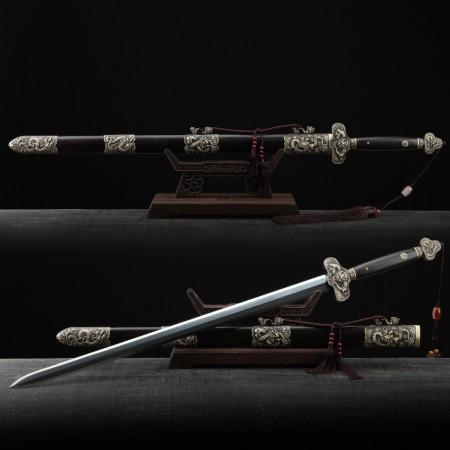 Handmade Black Sandalwood Chinese Dragon Theme Damascus Steel Chinese Swords