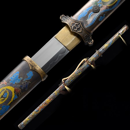High-performance Pattern Steel Real Hamon Chinese Tang Dynasty Sword With Handwood Scabbard