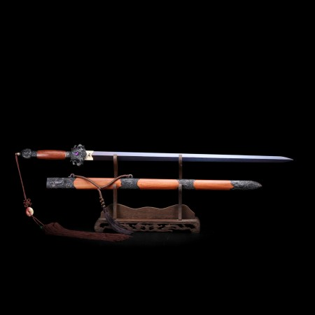 Handmade Chinese Phoenix Theme Damascus Steel Purple Blade Tang Dynasty Swords