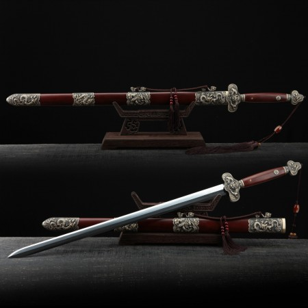 Handmade Red Rosewood Chinese Dragon Theme Damascus Steel Chinese Swords
