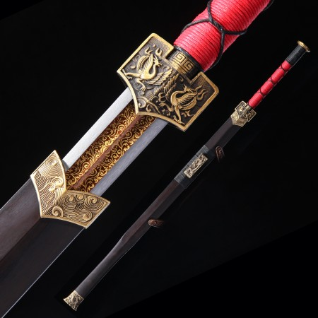 High-performance Spring Steel Red Blade Chinese Han Dynasty Sword With Ebony Scabbard