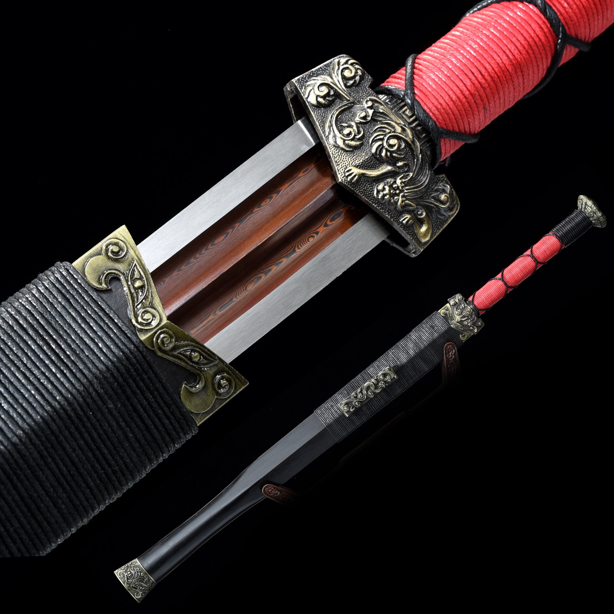 Handmade Pattern Steel Red Blade Chinese Han Dynasty Sword With Ebony Scabbard