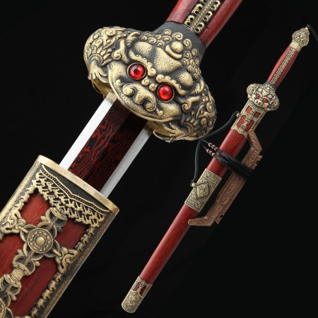 High-performance 1000 Layer Folded Steel Red Blade Chinese Han Dynasty With Rosewood Scabbard