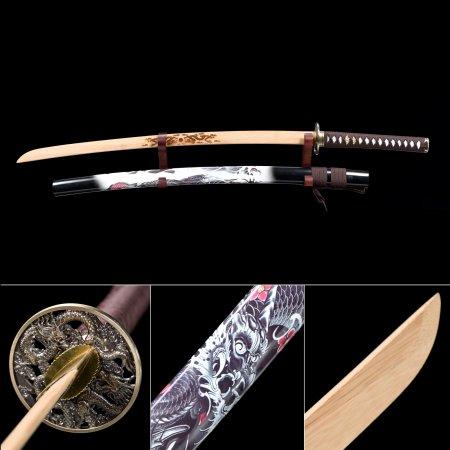 Handmade Natural Bamboo Wooden Blade Unsharpened Katana Sword With Dragon Theme Scabbard And Tsuba