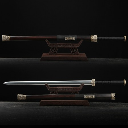 Handmade Black Sandalwood  Damascus Steel Chinese Han Dynasty King Swords