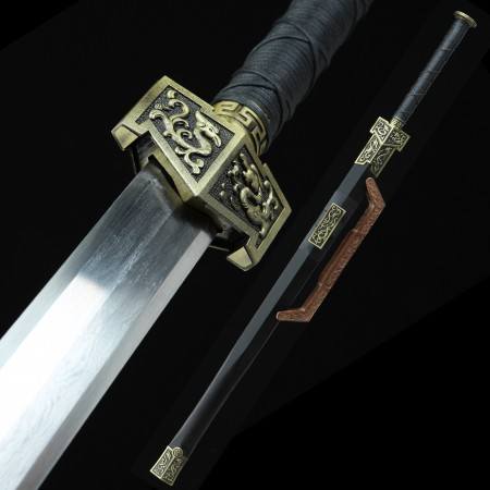 Handmade Pattern Steel Real Chinese Han Dynasty Sword With Ebony Scabbard