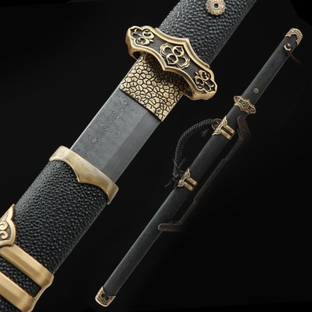 High-performance Pattern Steel Handforged Chinese Tang Dynasty Sword With Black Rayskin Scabbard