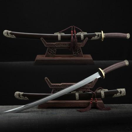 Handmade Black Sandalwood Qing Dynasty Dragon Theme Chinese King Broadsword