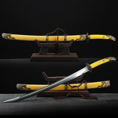 Handmade Yellow Rayskin Theme Clay Tempered Chinese Qing Dynasty King Swords