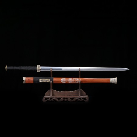 Handmade Rosewood Damascus Steel Blade Copper Fittings Han Dynasty Chinese Sword