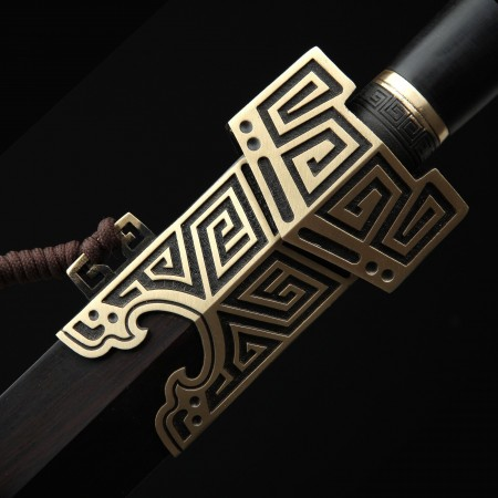 Handmade Qin Dynasty Chinese King Swords With Real Black Wood Scabbard