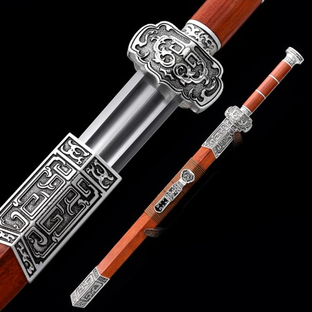 High-performance High Manganese Steel Chinese Han Dynasty Sword With Rosewood Scabbard