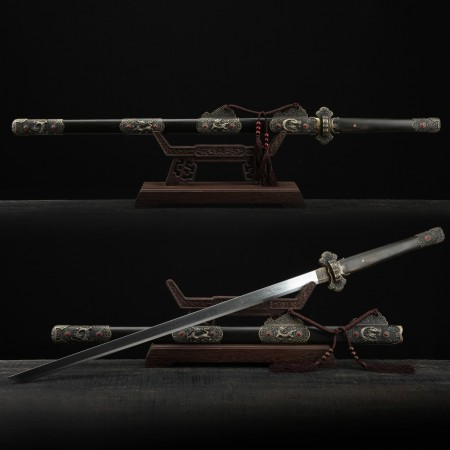Kirin Theme Black Sandalwood Tang Dynasty Hand Forged Real Chinese Swords